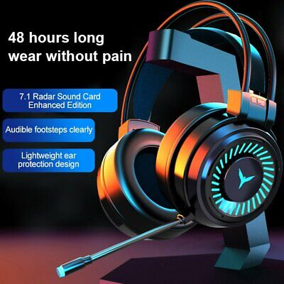 Gaming Headset LED Headphones USB 3.5mm Wired W/Mic For PC Laptop PS4 Xbox One • 16.99£