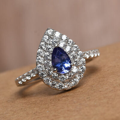 £39.99 • Buy AAA Tanzanite And Zircon Halo Ring In Silver 1.25 Ct.