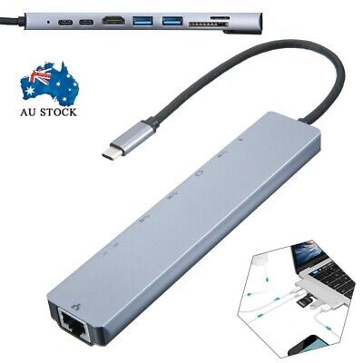 AU28.50 • Buy 8in1 RJ45 USB-C 3.1 To USB 3.0 Type-C Hub HDMI Ethernet Micro SD TF OTG Adapter