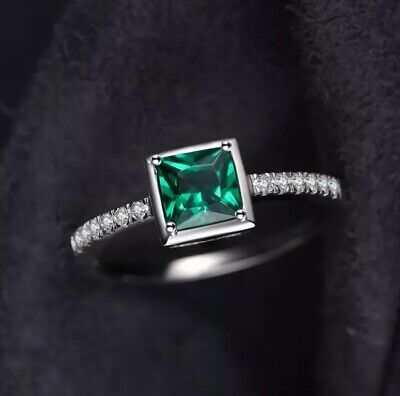 925 Sterling Silver Emerald Ring Green Birthstone Princess Cut Size N Gift Her • 21.95£