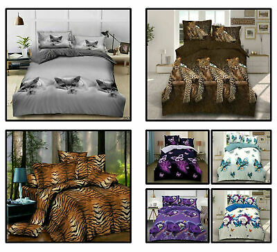 New Modern 3D Animal Print Duvet Cover Set Fitted Sheet Pillowcase In All Sizes • 22.99£