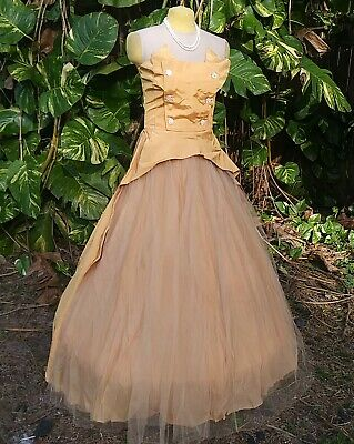 £124.08 • Buy VINTAGE WEARABLE BALL GOWN C.1950s 24W 31 BUST