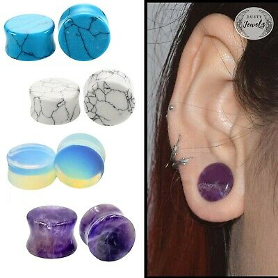 AU6.95 • Buy 2PCS Natural Stone Ear Plug Organic Tunnels Stretchers Amethyst Opal Turquoise