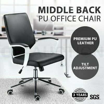 AU89.95 • Buy Ergonomic Middle Back PU Swivel Office Work Chair Executive Computer Seat Chair