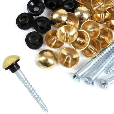 £4.19 • Buy BRASS MIRROR SCREWS 8G X 1½  Polished Dome Head Cap Cover RUBBER WASHER Fixing