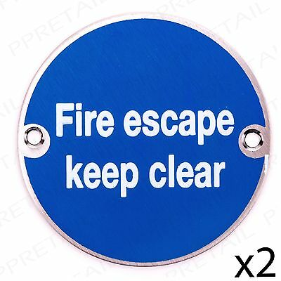 2x FIRE ESCAPE KEEP CLEAR Stainless Steel Health+Safety Warning Notice Door Sign • 6.35£