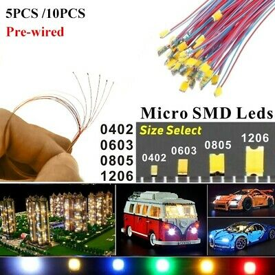 $5.89 • Buy 100PCS Pre-Wired LED Diodes Micro Mini DIY Toy Model Lights 0402 0603 0805 1206