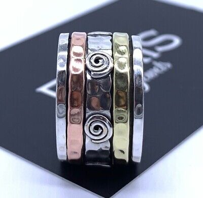 £19.99 • Buy 925 Sterling Silver Mens Ladies Spinner Ring Band Spinning Stress Worry Fidget