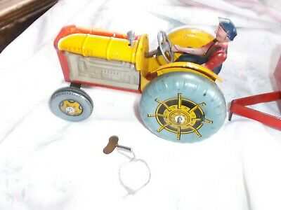 £89 • Buy  1950's METTOY TINPLATE CLOCKWORK FORDSON TRACTOR & TRAILER Rare Colour