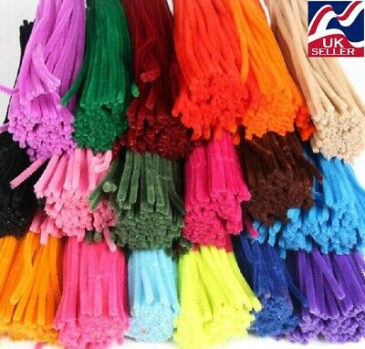 £2.25 • Buy 10-1000 Chenille Craft Stems Pipe Cleaners 30cm  Long, 6mm Wide,lots Of Colours