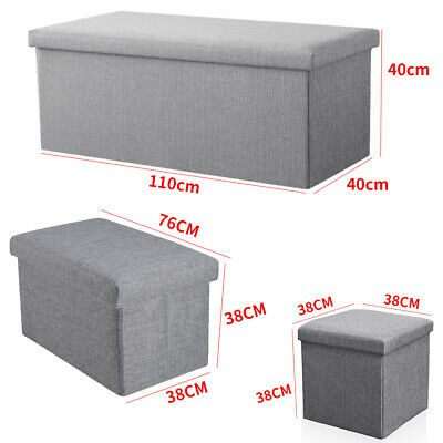 Large Grey Ottoman Foldable Storage Box Linen Suede Foot Stool Seat 3 Sizes New • 12.99£