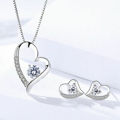 £3.99 • Buy 925 Sterling Silver Crystal Heart Pendant Necklace Stud Earrings Womens Gift