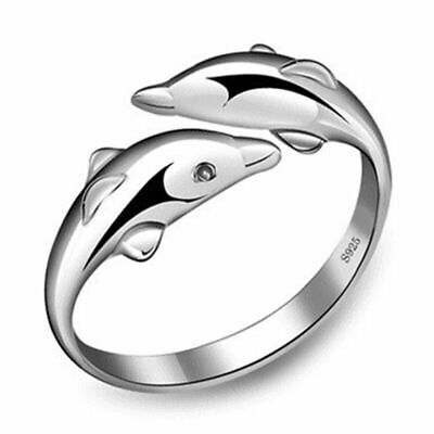 £2.99 • Buy Womens Girls Dolphin Hug Adjustable Ring 925 Sterling Silver Jewellery Gift