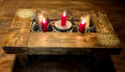 £269 • Buy Reclaimed Rustic Oak Sleeper Coffee Table W/ Candle Pit And Custom Pyrography