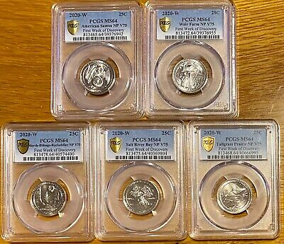 """$ CDN633 • Buy Amazing Set! 2020 W Quarters ⭐️PCGS MS64⭐️ All 5 Coins """"First Week Gold Shield"""""""