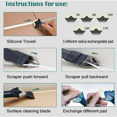 AU9.08 • Buy 3 In 1 Silicone Caulking Tool Removal Residue Scraper Kit Sealant Replace Set HG
