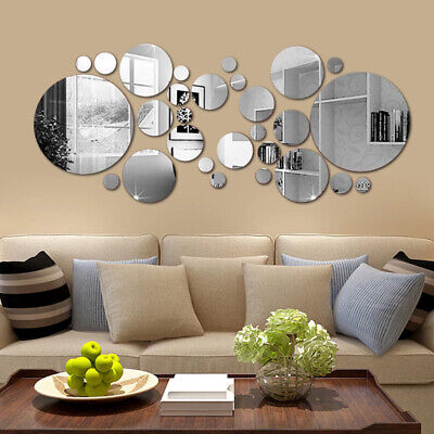 32x Circle Mirror Tile Wall Sticker Art Decal Stick On Bedroom Home Art Decor UK • 5.52£