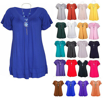 £4.89 • Buy Womens Plus Size Frill Necklace Gypsy Tunic Short Sleeve Long V Neck Tops 12-26