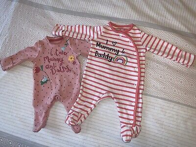 2 X Baby Grows - I Love My Mummy And Daddy • 5.99£