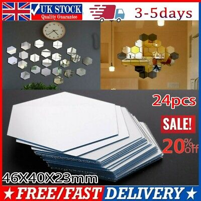 24pcs Hexagon Mirror Glass Tile Wall Stickers Decal Home Decor Self Adhesive UK • 5.99£