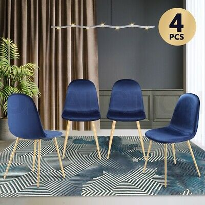 AU194.95 • Buy Soft Dining Chairs Velvet Kitchen Chairs Ergonomic Chair Set Of 4 With Metal Leg