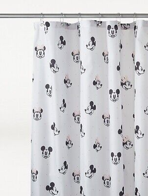 £14.95 • Buy White Black Disney Mickey And Minnie Mouse Print Waterproof Shower Curtain