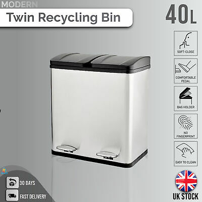 £28.17 • Buy Double Recycling Pedal Bin Twin Compartment Modern Kitchen Rubbish/Waste - 40L