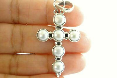 $69 • Buy White Mabe Pearl 925 Sterling Silver Cross Pendant