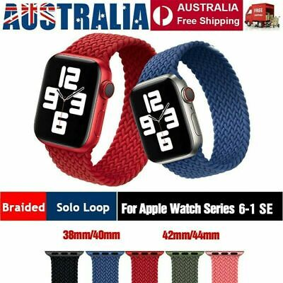 AU12.89 • Buy Nylon Braided Solo Loop Strap Band For Apple Watch Series 6 SE 5 4 3 2 40 / 44mm