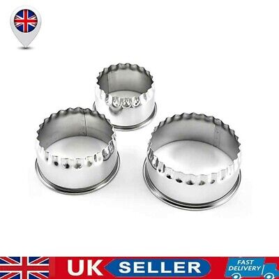 £5.76 • Buy 3X Stainless Steel Plain Crinkle Scone Pastry Quiche Tart Cookie Cutter S/M/L UK
