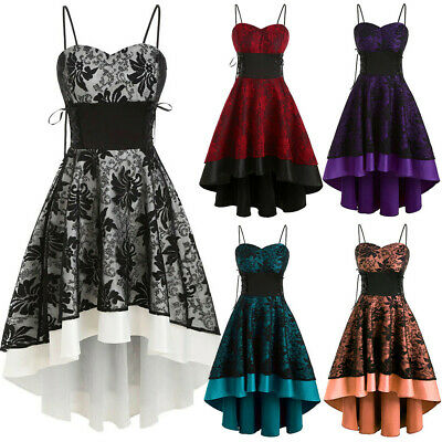 Women Vintage Embroidery Flower Cami Bandage Lace Up High Low Dress Party • 13.99£