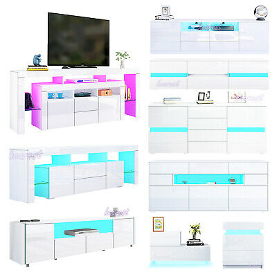 £139.90 • Buy White LED TV Unit Cabinet Stand High Gloss Large Srorage Sideboard Living Room