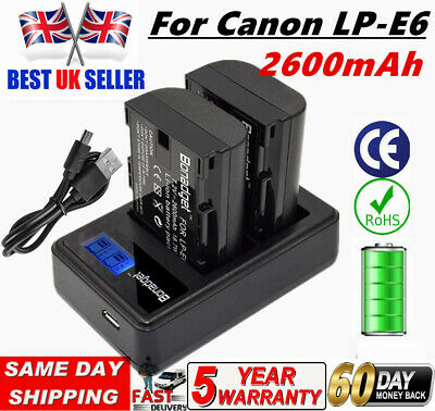 2 PACK LP-E6 Battery + LCD DUAL Charger For CanonEOS 80D 70D 7D 60D Mark III 5DS • 19.99£