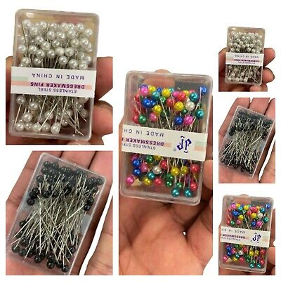 £2.99 • Buy Dressmaking Pearl Fine Glass Head Tailors Pins Quilting Sweing Craft Assorted UK
