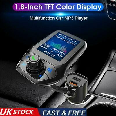 Car Bluetooth 5.0 Receiver FM Transmitter Kit Dual Charger USB MP3Player D6G8 • 7.66£
