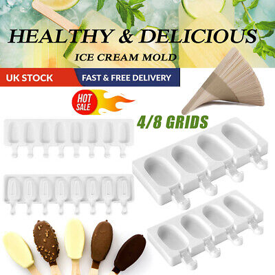 4/8 Cells Frozen Ice Cream Mold Kitchen Popsicle Maker Lolly Cake Mould Tray Pan • 4.99£