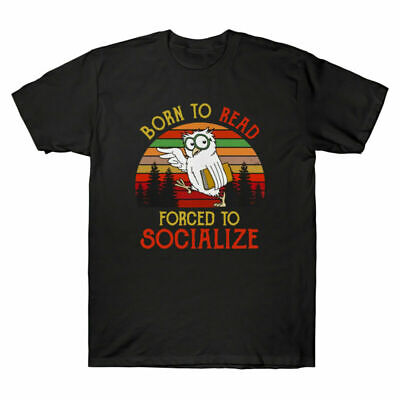 £10.47 • Buy Book Funny To Men Owl To Reading Vintage Forced Read Socialize T-Shirt With Born