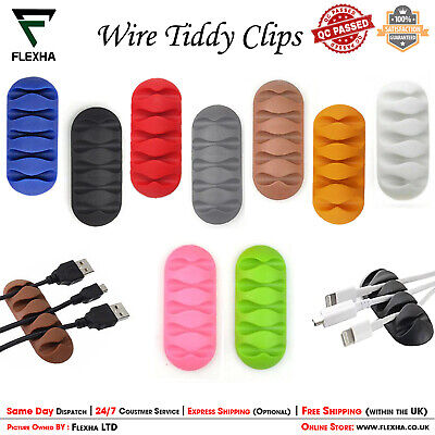 Wire Cord Tidy Clips Cable Holder Organizer USB Multi Wire Ties Lead Drop Holder • 2.45£