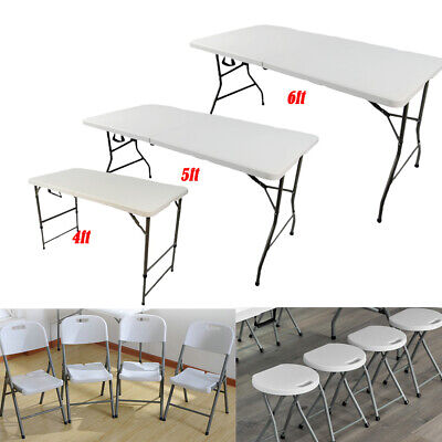 £15.99 • Buy 4/5/6ft Folding Table Chairs Portable Camping Garden Party Trestle Outdoor BBQ