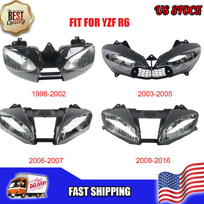 $89 • Buy MS Front Motorcycle Headlight Headlamp Fit For Yamaha 1998-2016 YZF R6 A019