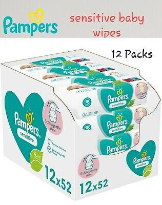 £17.90 • Buy Pampers Sensitive Baby Wipes 12×52 Packs - 624 Wipes - 17.90£ ONLY  - Free Post