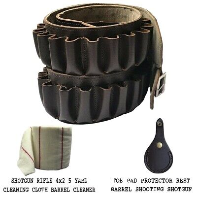 £19.99 • Buy Pure Leather Cartridge Belt In Brown For 20 Cartridges 12 Bore Free Postage