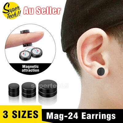 AU2.95 • Buy No Piercing Flat Round Black Magnetic Ear Stud Earrings Mens Womens Jewellery
