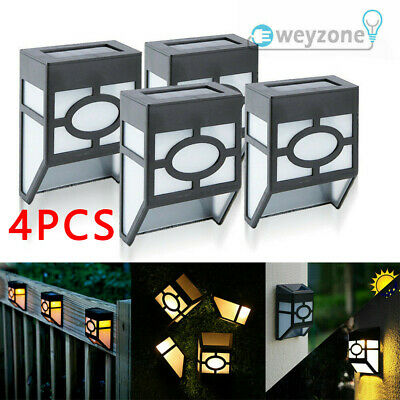 4 Pcs Solar Powered LED Wall Mount Lights Outdoor Garden Door Step Fence Lamps • 6.99£