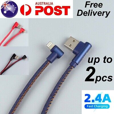 AU5.99 • Buy Right Angle USB Quick Charger Fast Charging Cable Cord For IPhone 12 11 X 8 7 6