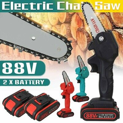 88V 1080W 4 Inch Mini Electric Wood Cutting Chain Saw With 2 Battery Power Tool. • 35.76£