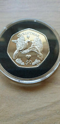 2006 IOM 50p Fifty Pence Christmas Coin TWO TURTLE DOVES UNC Diamond Finish COA • 97£