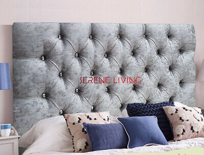 Headboard Chesterfield Crushed Velvet 20  Bed Head - Small Double King Superking • 46.19£