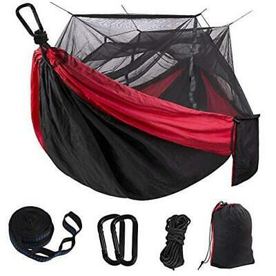 Hammock Camping Single & Double With Mosquito/Bug Net And Tree Straps Red/Black • 27.35£