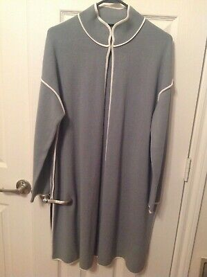 $40 • Buy Marla Wynne Long Sweater Knit Jacket Duster, Gray With Ivory Piping Trim SZ M